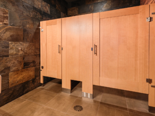 Earthy, urban bathroom features honey colored wood veneer partitions with two captured panel doors in floor mount style. Brick and slate walls.