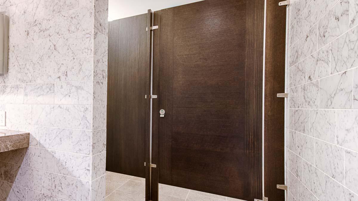 Beautiful marble wall and countertop bathroom spotlighting one interesting contrasting grain, brown wood veneer door with inlay design.