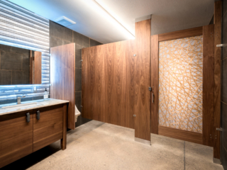Dark rich wood veneer bathroom partition and acrylic insert door showing stray crossing gold lines and corrugated metal backsplash and cabinet vanity.