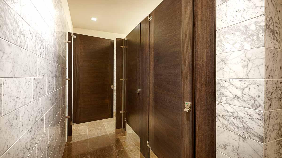 Elegant marble wall bathroom with interesting, contrasting grain, brown wood veneer, inlay design doors in floor mount configuration.