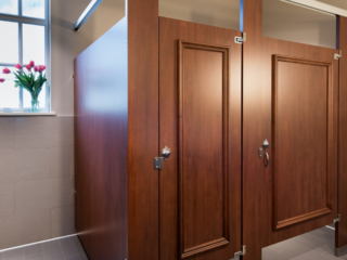 Beautiful, wood grain plastic laminate partitions with two doors featuring picture frame molding. Pink tulips on window sill in country club bathroom.